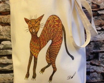 TOTE BAG - [Skanky Fred] - 100% Cotton Fabric High Quality Re-usable Bag - Print From Original Artist Drawing by Denise Payne