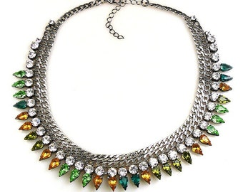 Luxury Masai Rhinestone Necklace green earth  tones