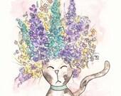 """Original Watercolor Artwork, Flower Kitty Kat, 5x5"""" Cat Details, Bouquet of Flowers, Headband, Silly Kitten, Fun Wall Accent, Home Décor Art"""