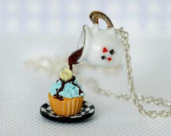 Alice in Wonderland Necklace - Eat Me Drink Me necklace - Cupcake Necklace - Food Necklace - Kawaii Necklace - Tea Party Necklace
