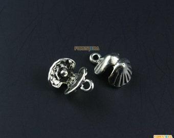 50Pcs Antique Silver scallop Charm shell Charm scallop Pendant shell Pendant 16x13mm (PND1193)