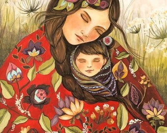 Mother and child in red quilt  art print