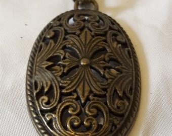 Vintage Bronze Filigree Floral Medallion