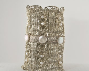 One-of-a-kind Pearl Wedding Cuff