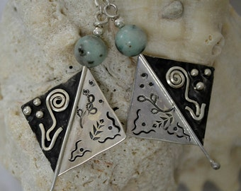 """Sterling silver and amazonite earrings.  hand stamped, hand fabricated.  """"Mondays Child"""""""