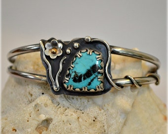 Sterling silver turquoise cuff bracelet.  McGinnis turquoise bracelet.