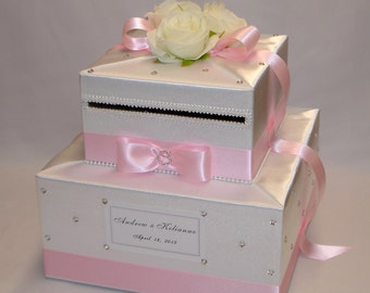 White and Pale Pink Wedding Card Box, white Roses, crystals/gems/rhinestone accents