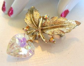 Vintage Brooch Rhinestone Crystal Heart Leaf Aurora Borealis Gold 50's (item 210)