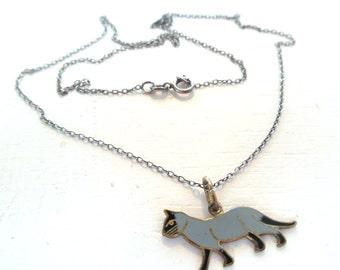 Vintage Necklace Cat Sterling Silver Enamel Siamese Gray Black 80's (item 181)