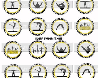 INSTANT DOWNLOAD Gymnastics Yellow Black Zebra   1.5 inch Circle Cupcake topper  Images Letter size sheet
