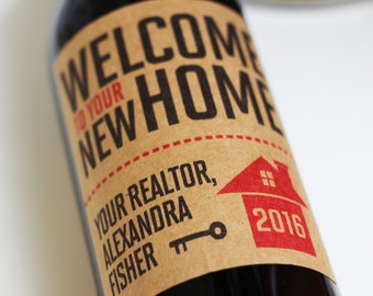 Realtor Closing Gift, Realtor Client Gift, New Home Gift , Realtor Wine Label with or Without Year, Set of 18