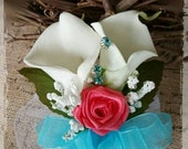 Reserved for sheila creamy white calla lily turquoise coral WRIST Corsage Wedding Bridal flowers mother grandmother keepsake corsage x2