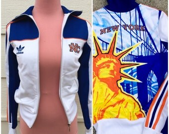 Early 90s classic blue orange Adidas New York limited Edition sports sweat jacket size XS-Small