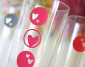 Valentine Heart Drink Dots - Removable and Reusable - Glass Label, Drink Marker, Drink Cling