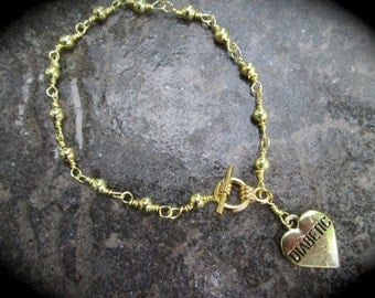 Diabetic Medical Alert Bracelet with gold finish rosary link chain and toggle clasp Diabetes Awareness Bracelet Heart charm bracelet