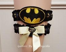 ON SALE Batman Wedding Garter, Super Hero Garter Set,  DC Comics,  Justice League, Geek Garter, Batman Bridal Garter