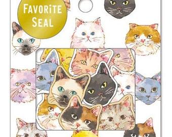 Deco Flake Sticker Set - Favorite Seal - Capricious Cat - 10 Designs - 70 Pcs