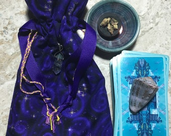 Hippy/Festival/Crystal/Yogi/420/Boho Travel Tarot Crystal Bag/Sack/Pouch in Purple Cosmic print.