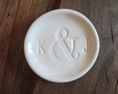 Mr and Mrs ring holder, engagement ring dish,  wedding ring keeper, White Glaze,  Made to Order