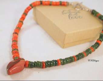 Agate Pendent Necklace, Agate and Sterling Silver Necklace, Agate Chocker Necklace, Natural Stone Jewelry CKDesigns.us