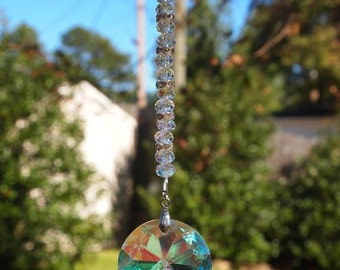 Crystal Car Mirror Charm, AB Crystal and Silver Rear View Mirror Charm. Gift For Her, OOAK Handmade. CKDesigns.US