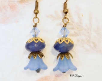 Flower Lucite Earrings, Blue Chalcedony Victorian Earrings, Vintage Style Pierced or Clip-on Earrings. OOAK Handmade Earrings. CKDesigns.us