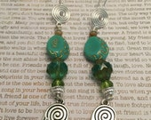 Healing Hands Earrings - OOAK - Spiral Of Life Made With Czech Crystals Silver Charms Spiritual Healing Jewelry Reiki, Massage Therapist