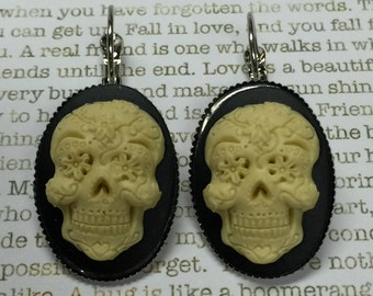 Scratch and Ding - Ivory Sugar Skull Earrings Sugar Skulls Day of the Dead Jewelry Skulls Dia de los Muertos All Saints Day Mexican Holidays