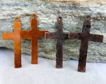 Copper Cross Charms, Hammered Copper Artisan Components, Choice of Patina, Set of 2