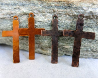"Copper Cross Charms, 1 1/4"" Long, Hammered Copper Artisan Components, Choice of Patina, Set of 2"