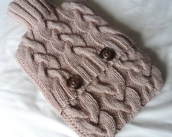 Hand Knitted Aran Mink Cabled Hot Water Bottle Cover/Cozy/Cosy