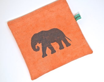 Reusable Snack Bag - Reusable Sandwich Bag - Hand Dyed Hand Printed Elephant