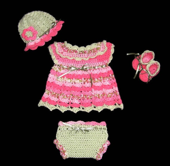 Crochet Pink Baby Girl Dress Set Layette Set Diaper Dress Set Pink Baby girl outfit knit baby girl dress Set Pink  baby Dress Newborn dress