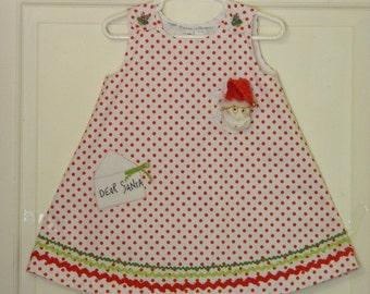 Girl's Handmade Christmas Dress - 18 Month Size Clothing - Red Polka Dot Dress - Holiday Girl's Dress - Children's Clothing - OOAK Toddler
