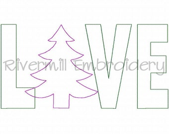 Raggy Applique Christmas Tree Love Machine Embroidery Design - 4 Sizes