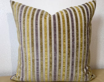 """NARROW STRIPE 20"""" Yellow Putty Grey Cushion cover Pillow sham 50cm Square Fabric from Osborne and Little TARQUINIA stripe"""