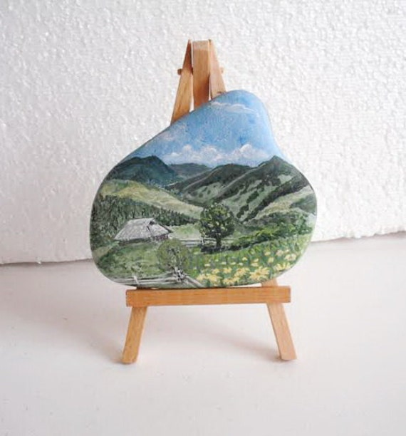 Hand Painted Stone. inspirational mountains forest house. Natural River rock Artwork Home Garden Decor.