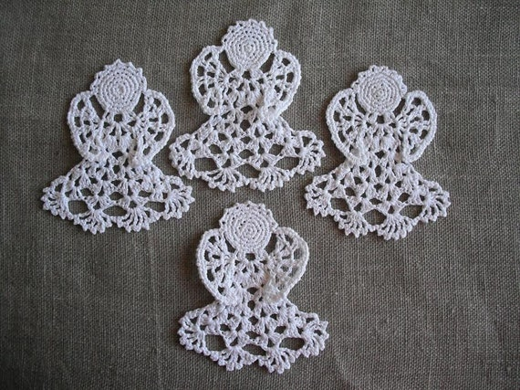 Handmade Christmas tree ornaments. Crochet Angels with twine to hang. white decorations.Set of 4