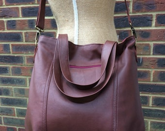 Recycled leather bag - Hobo style bag made with burgundy brown leather-detachable adjustable strap-shoulder or hand held.