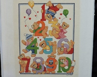 Vintage Teddy Bear Numbers Counted Cross Stitch Picture Completed Counting Nursery Child Room Art