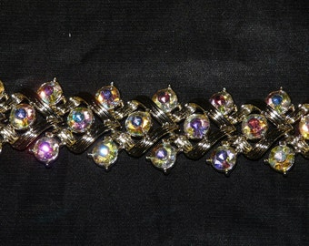 Vintage Gold Rhinestone Woven Bracelet Formal Evening Party Costume Jewelry
