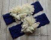 BLUE and IVORY Bridal Garter Set - Keepsake & Toss Lace Wedding Garters - Chiffon Flower Pearl Garters - Something Blue - Navy Blue