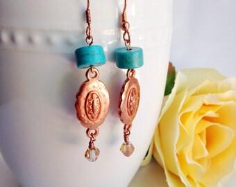 bead earrings, copper earrings, bohemian earrings, dangle earrings, vintage beads, fancy earrings, turquoise bead earrings, gemstone jewelry