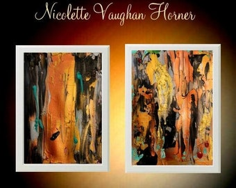 Sale Original Abstract paintings on cold pressed  French Cotton paper,set of two  by Nicolette Vaughan Horner