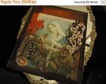Christmas In July Sale Vintage Rosary Lot 6 Pieces Religous Crosses Chaplet Bracelet Mother Mary Picture Mid Century Collectible Home Decor