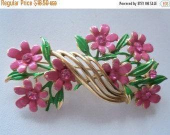 Now On Sale Vintage Pink Rhinestone Flower Brooch Mid Century Modern Mad Men Mod Jewelry