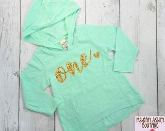 Birthday shirt, Glitter Number Birthday Shirt, First Birthday Shirt, Girls Birthday Hoodie, Gold Glitter Writing, 1st Birthday