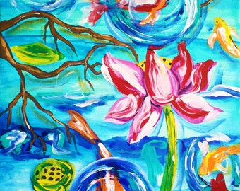 Koi art, koi painting, koi pond, zen, lotus, lotus flower, lotus art, tattoo, cherry blossom, buddhist, buddha, wall art, modern, abstract