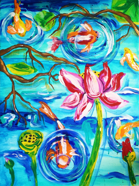 Koi art koi painting koi pond zen lotus lotus flower for Koi fish pond lotus