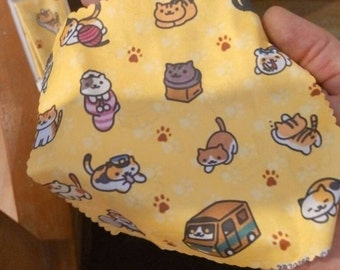 Neko atsume eyeglasses microfiber cleaning cloth